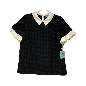 (NEW) CeCe blouse black and white dots
